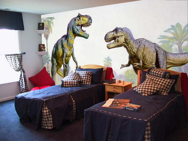 Wall mural inspiration ideas for little boys 39 rooms for Dinosaur mural ideas
