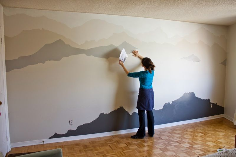 Mountain mural wall art diy