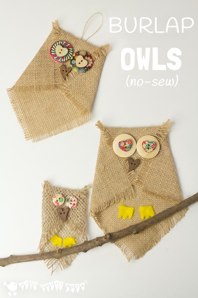 No Sew Burlap Owl