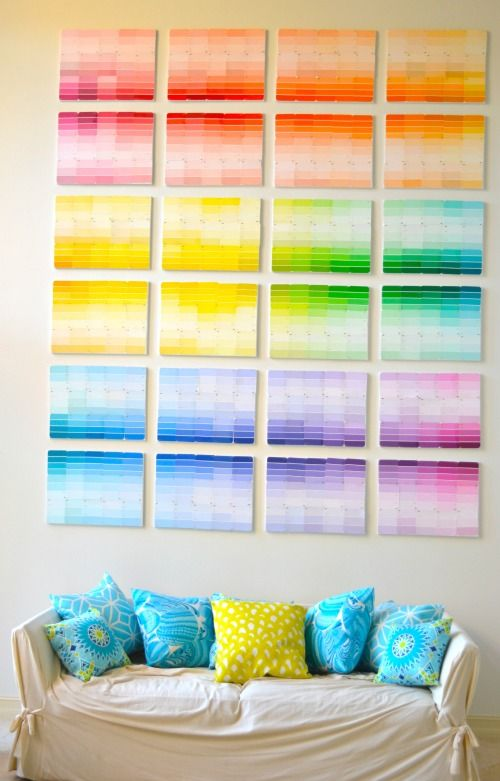 Paint chip ombre wall design