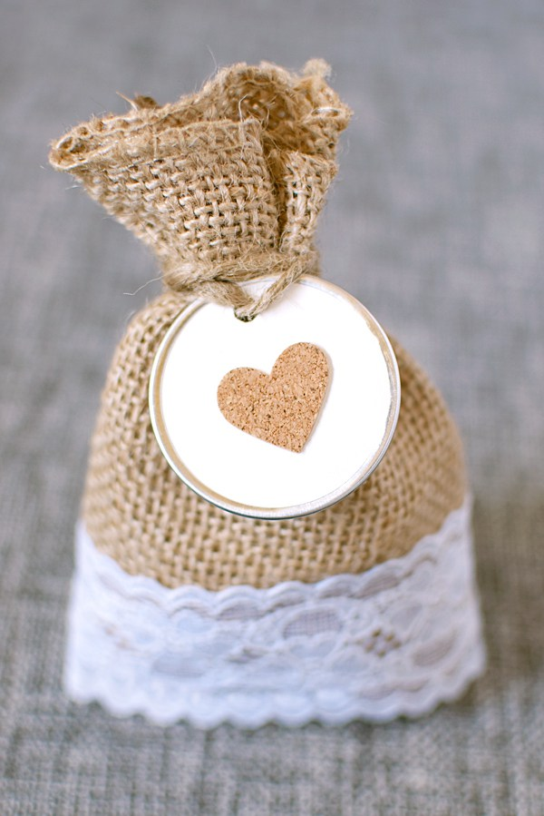 Rustic lace burlap favor bag