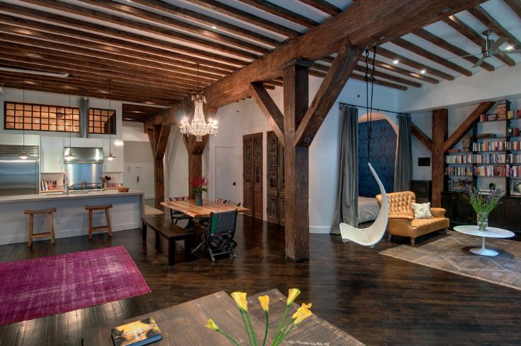 Solid wood beams used to hang chairs