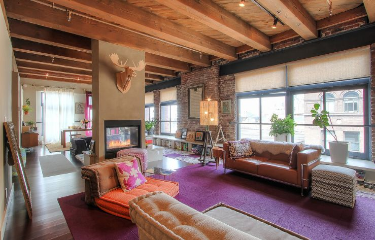 Wood beams paired with wood ceiling