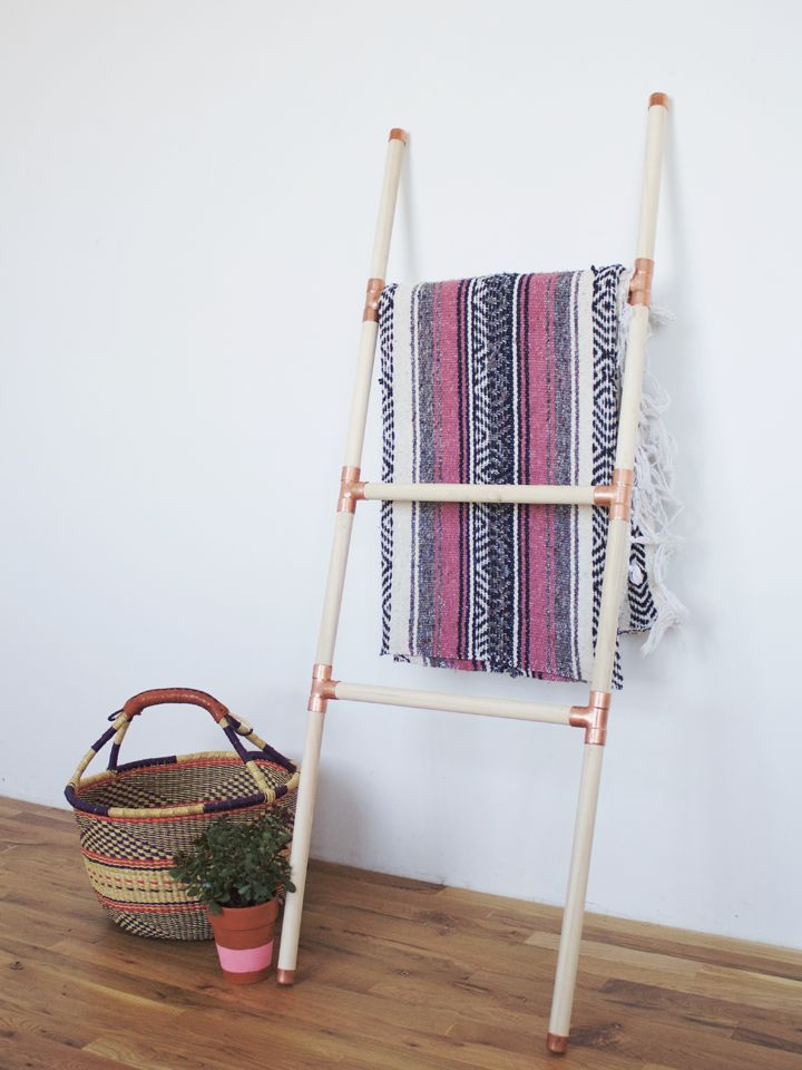 Wood copper blanket ladder