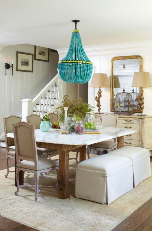 Dining room turquoise chandelier