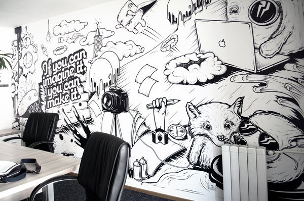 Black and white Appricot office walls