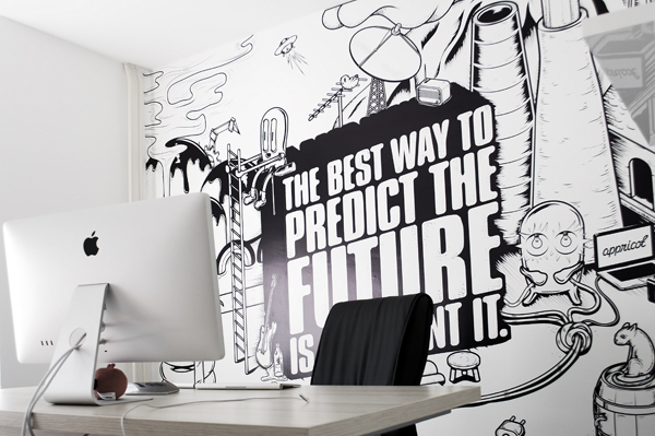 Black and white appricot office walls for Creative mural designs