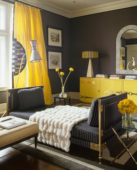 Hot color combo yellow gray High end bedroom design