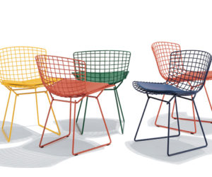 The innovative Bertoia side chair with seat cushion