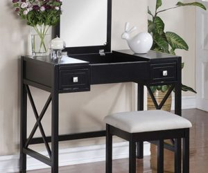 The Perfect Black Vanity Table and Bench