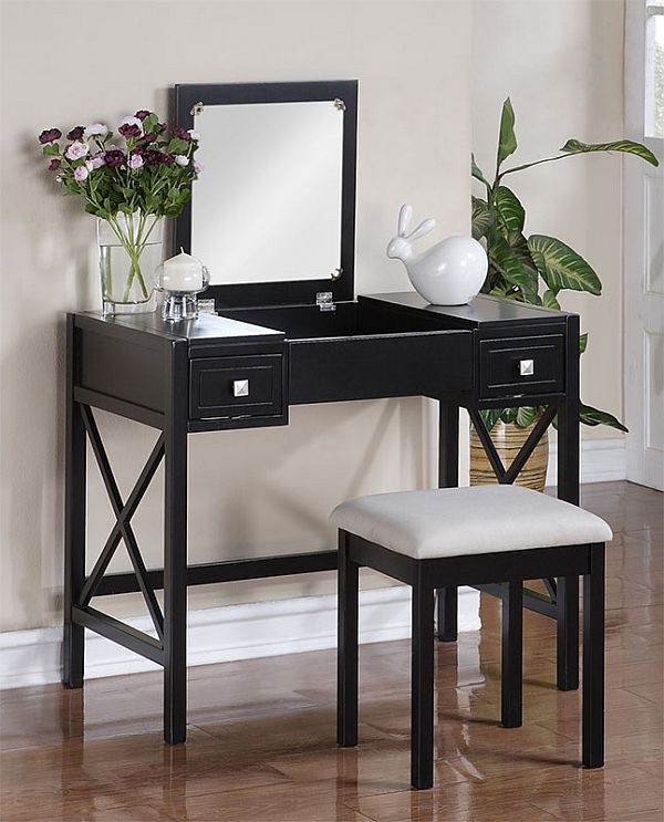 The perfect black vanity table and bench for Black makeup table with mirror