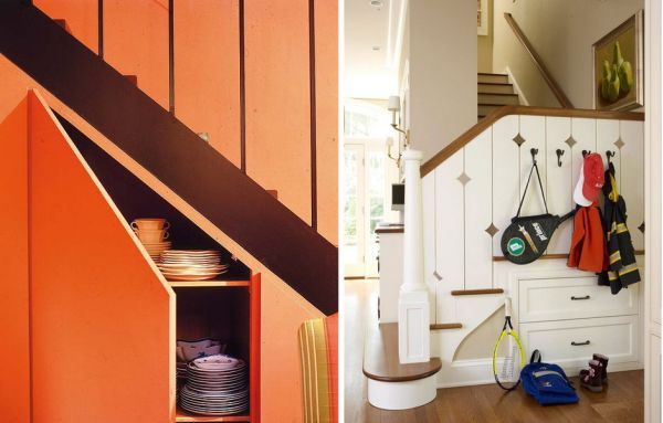 Cabinets With Doors Under Stairs.