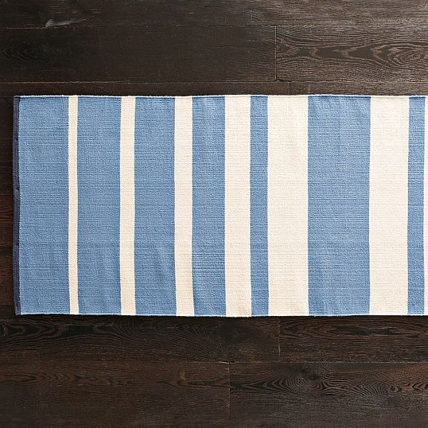 The Gradiated Stripe Rug In White And Blue