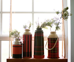 DIY hanging thermos display