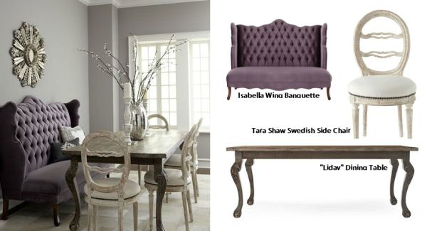 Isabella Wing Banquette Liday Dining Table Swedish Side Chair