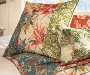 Hawaiian Inspiration for a Beach Palm Patchwork Quilt & Sham