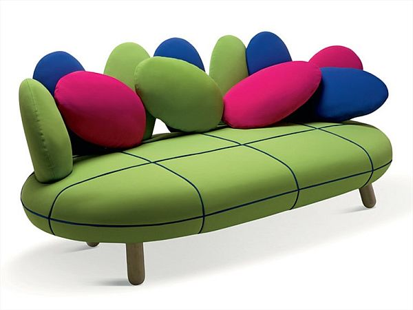 Colorful Jelly Sofa With Egg Shaped Pillows Pictures