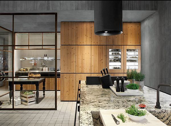 Modern Wood Kitchen warmth wood and steel skin kitchen