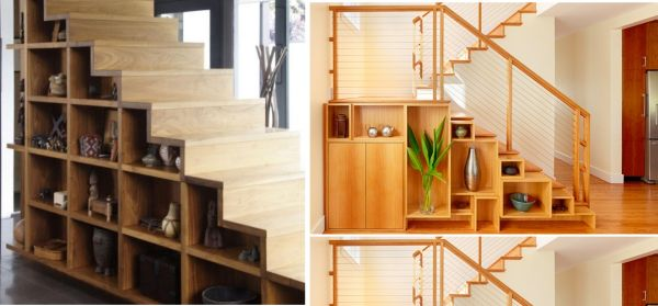 Storage under open wooden stairs.