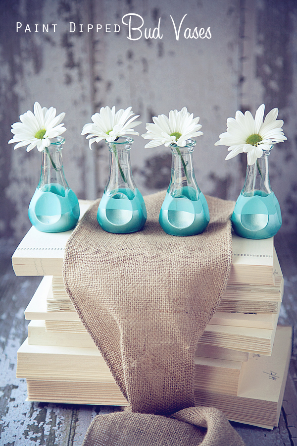 Lovely Diy Turquoise Paint Dipped Bud Vases