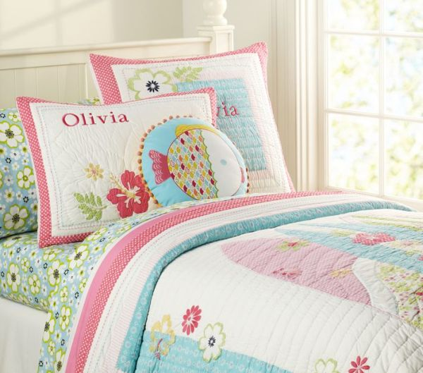 Colored Summer Flowers Quilted Bedding For Girls