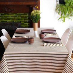 Modern Stripe Sailor Olive Tablecloth