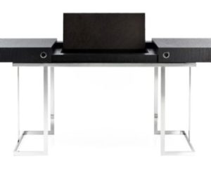Exceptional Desk With Base In Polished Inox And Top In Black Tamo Wood Awesome Design