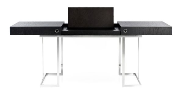 Desk with base in polished inox and top in black Tamo wood