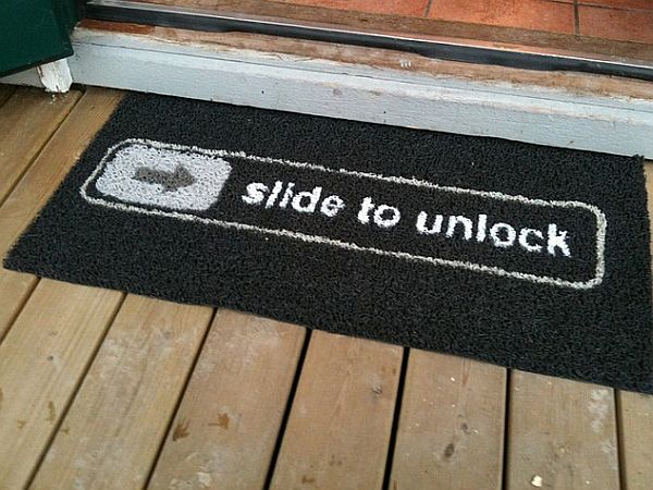 Great The Funny Slide To Unlock Doormat Idea