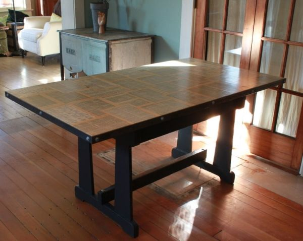 Ingenious Work Table With Vintage Dictionary Top
