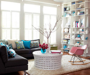 Create contrast by adding a pop of color to a white décor
