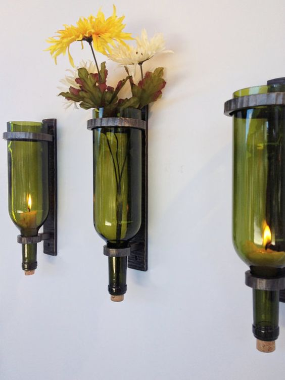 wine bottle sconce