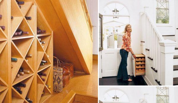 Storage under open wooden stairs.