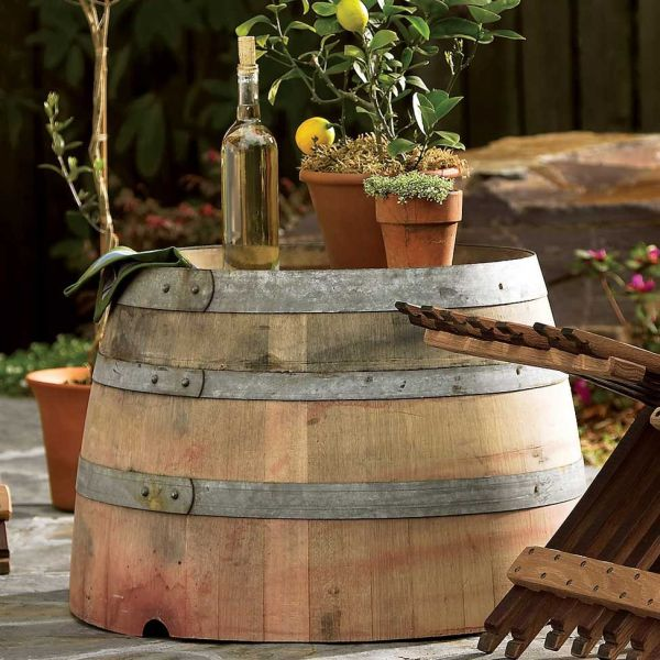 Wine Barrel Outdoor Table 149 View In Gallery