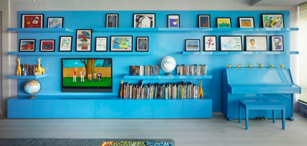 Blue living room wall unit