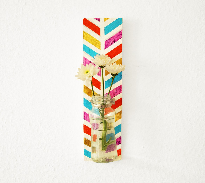 Chevron painted flower vase