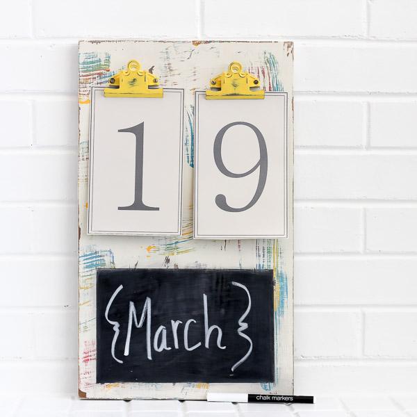 Colorful chalk calendar