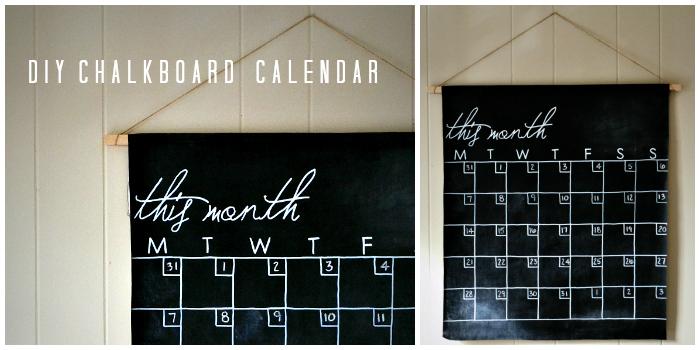Hanging chalkboard calendar