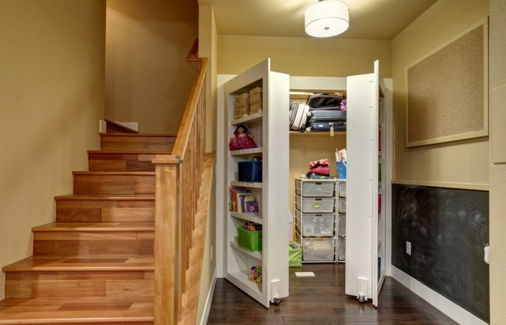 Hidden Closet Behind Big Bookcase