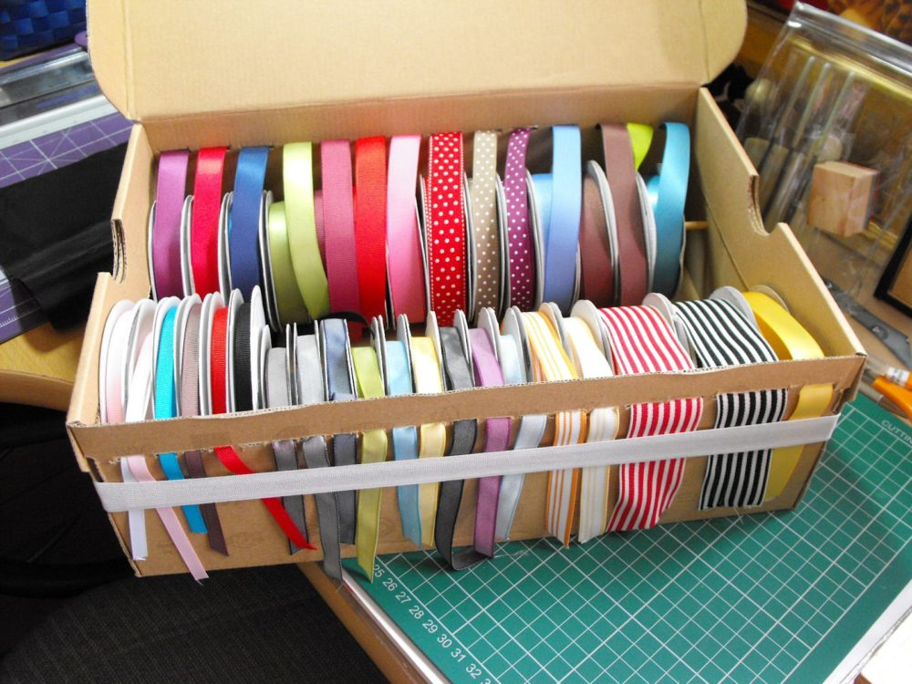 Organize Ribbon In An Upcycled Shoebox