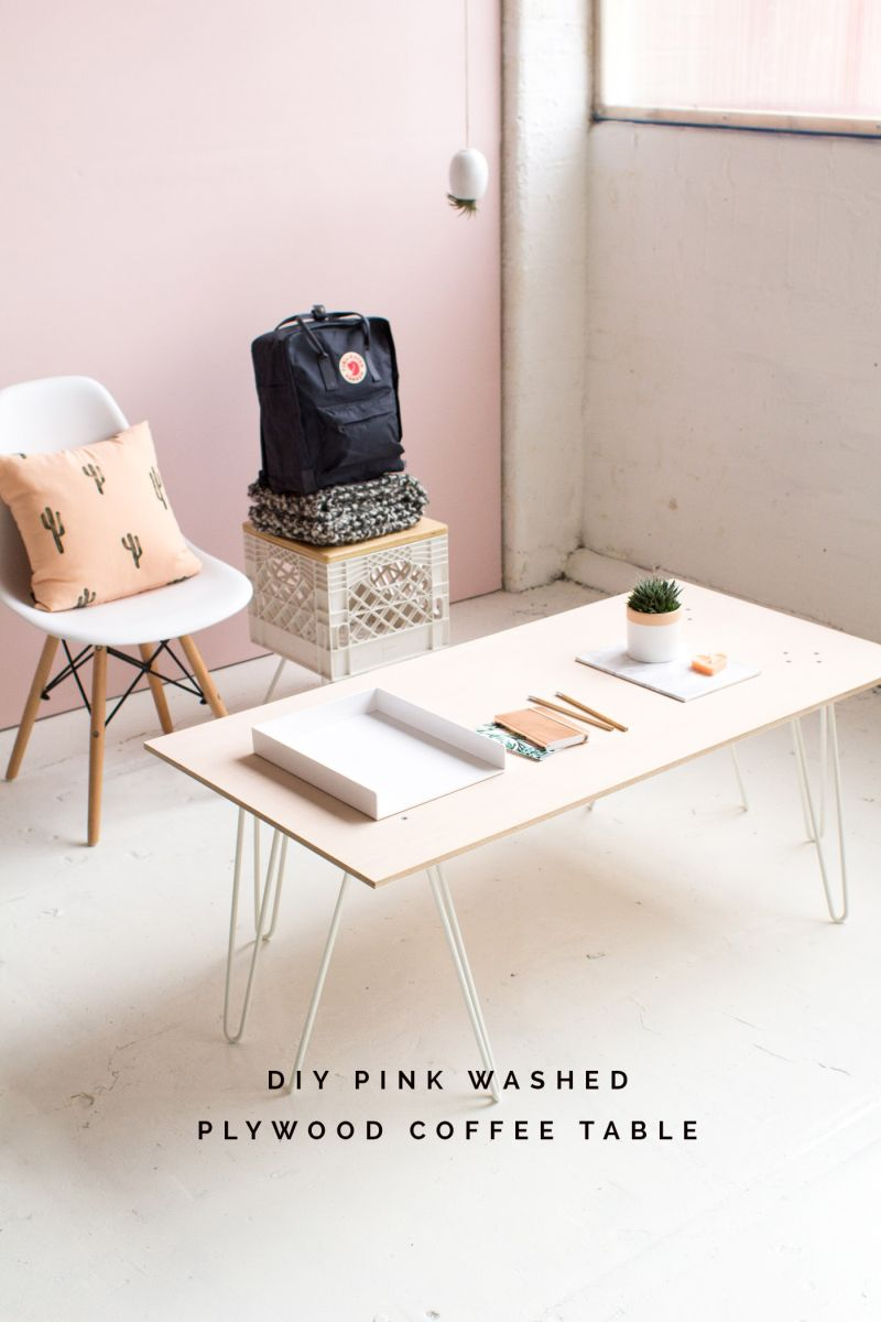 Stylish tables reveal the beauty of plywood for Plywood table hairpin legs