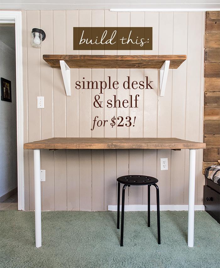 Simple desk and shelf