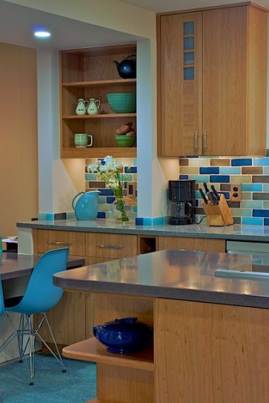 Cozy color duo brown blue for Blue and brown kitchen