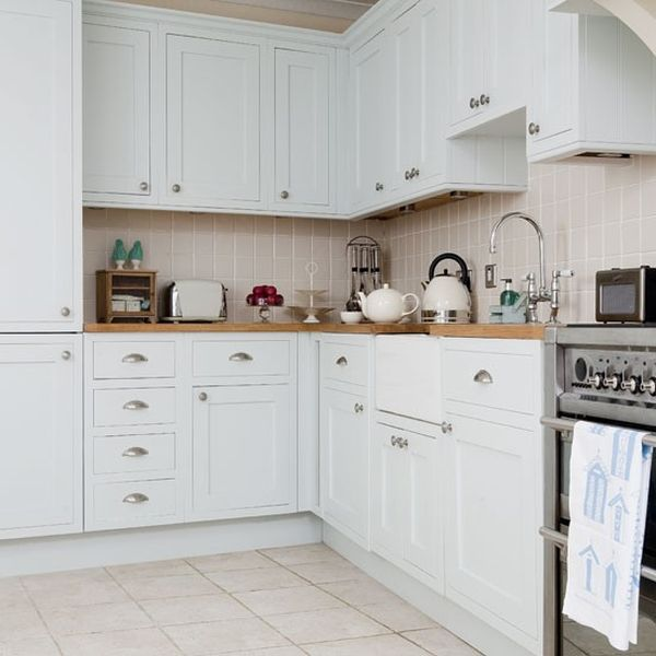 Borrowed Light Kitchen Cabinets White Tiles