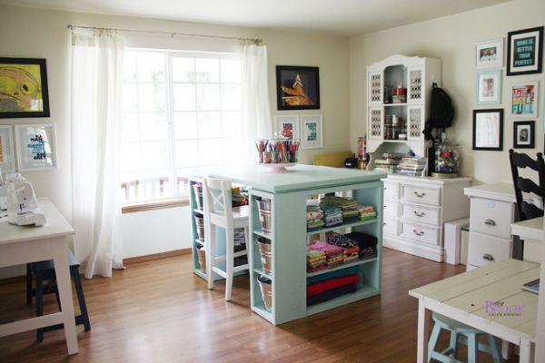 Brooks Craft Room Interior With Turquoise Accents