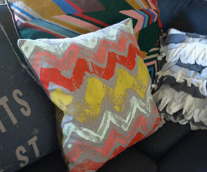 Creative DIY monoprint fabric to use with your pillows