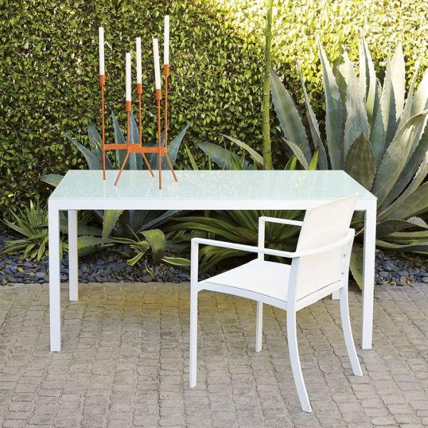 Modern white glass top outdoor table for White patio table