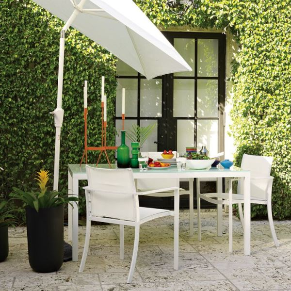 Modern White Glass Top Outdoor Table