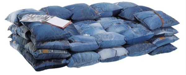 A Sofa Made Out From Recycled Jeans