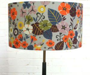 Digitally-printed floral lampshades in Nasturtium
